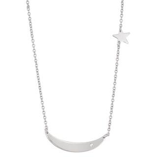 La Preciosa Sterling Silver Small Curved Bar with Star Necklace