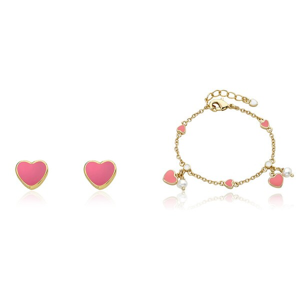 Super Cute Enamel Pink Heart Earrings and Bracelet Set
