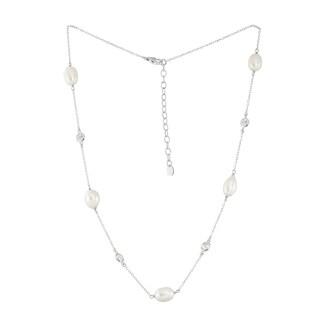 La Preciosa Sterling Silver Oval Freshwater Pearl and Bezel-set Cubic Zirconia Necklace
