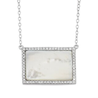 La Preciosa Sterling Silver Mother of Pearl and Cubic Zirconia Rectangle Necklace