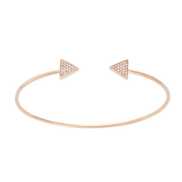 14k 0.168ct Diamond Women's Triangle Bangle Bracelet