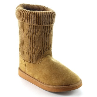 Beston EA18 Women's Soft Faux Fur Lining Silp On Knit Mid Calf Snow Boots