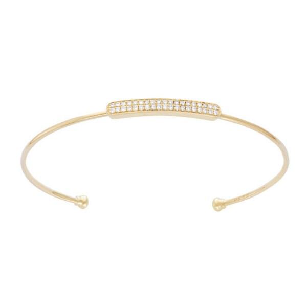 14k 1/3ct TDW Diamond Women's Bar Bangle Bracelet