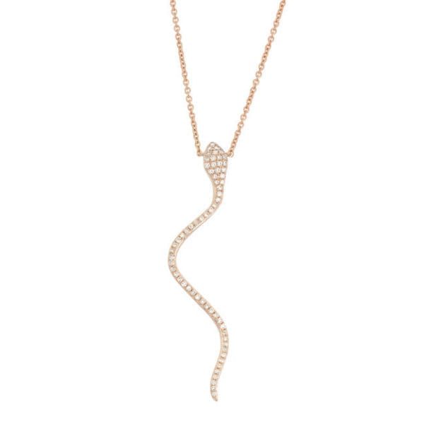 14KT 0.247ct Diamond Women's Snake and Drop Critter Necklace