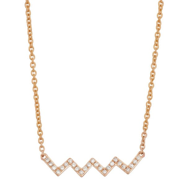 14k Gold Diamond Accent Geometric Wave Fashion Necklace (16 inches)