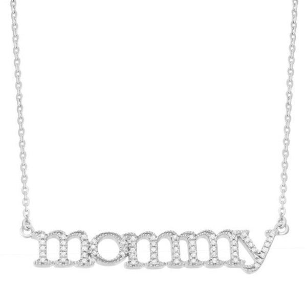 14KT White Gold .17ct Diamond 18-inch Women's 'Mommy' Necklace