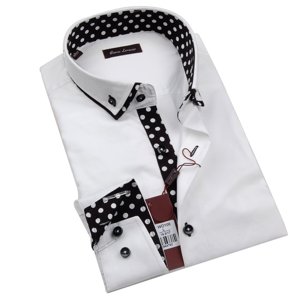 Gianni Lorenzo Mens White Shirt WIth Polka Dot Pattern in Collar