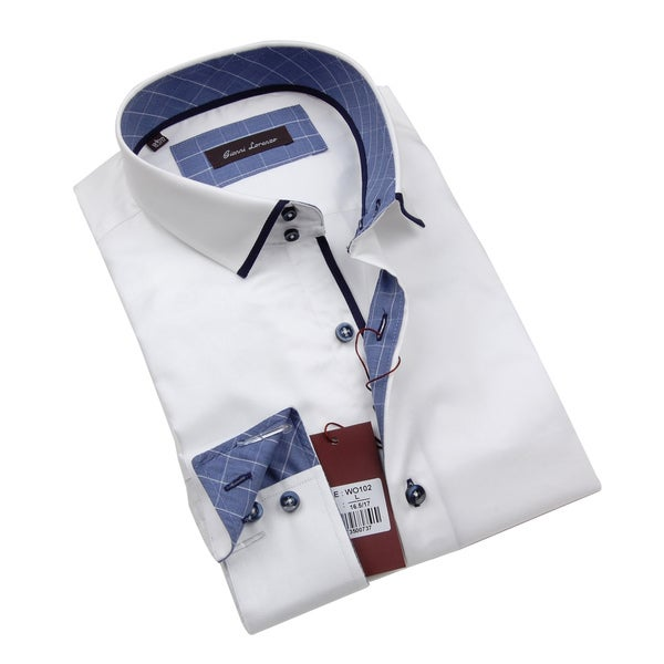 Gianni Lorenzo Mens White Dress Shirt WIth Blue Pattern In Collar