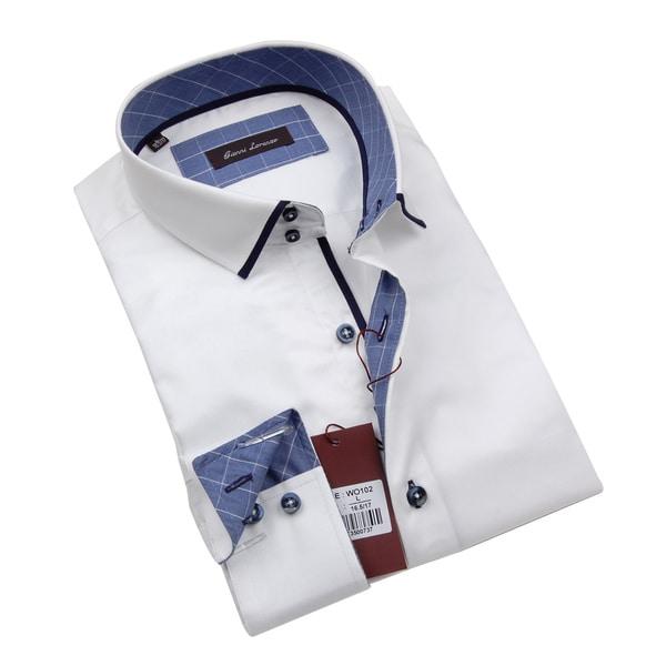 Gianni Lorenzo Mens White Dress Shirt WIth Blue Pattern In Collar