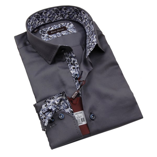 Gianni Lorenzo Mens Grey Shirt WIth Floral Pattern in Collar
