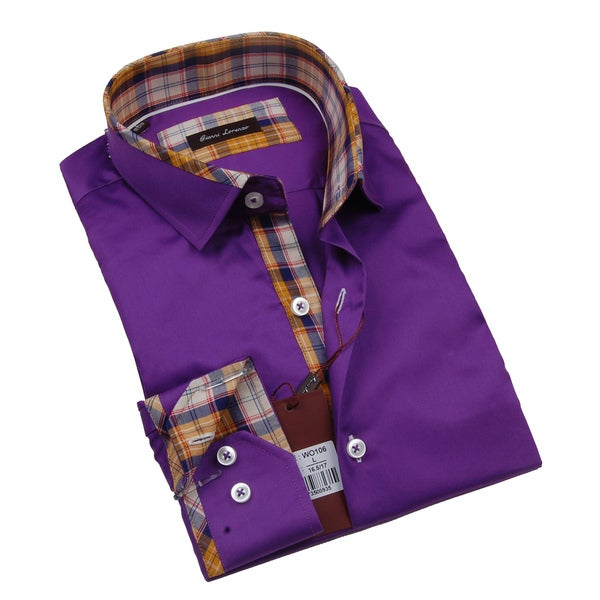 Gianni Lorenzo Mens Purple Dress Shirt With Plaid Print in Collar and Cuff