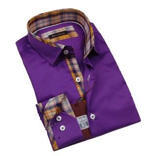 Gianni Lorenzo Mens Purple Dress Shirt With Plaid Print in Collar and Cuff