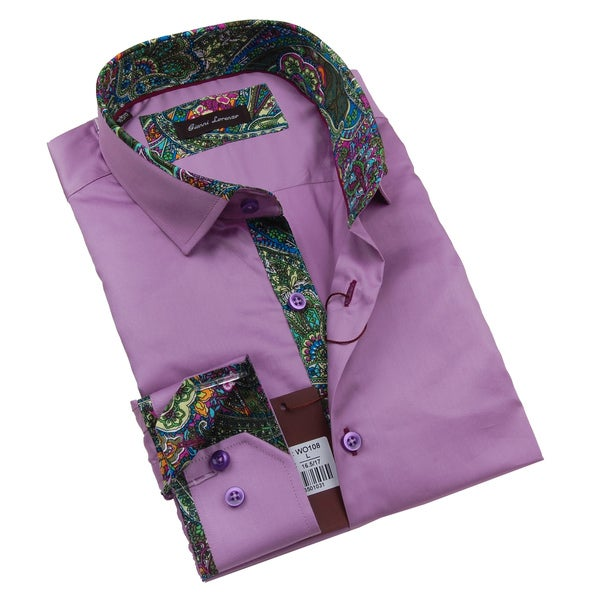 Gianni Lorenzo Mens Light Purple Dress Shirt With Paisley Print in Collar and Cuff