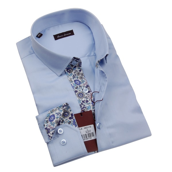 Gianni Lorenzo Mens Light Blue Shirt With Paisley Print