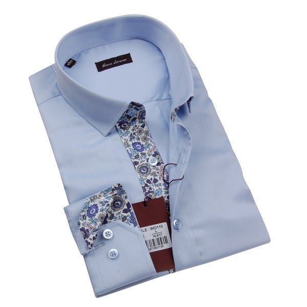 Gianni Lorenzo Mens Light Blue Shirt With Paisley Print