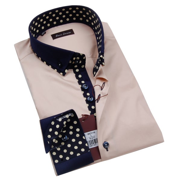 Gianni Lorenzo Mens Beige Shirt With Polka Dots in Collar
