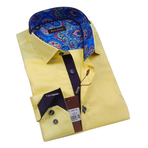 Gianni Lorenzo Mens Yellow Shirt WIth Blue Paisley Design