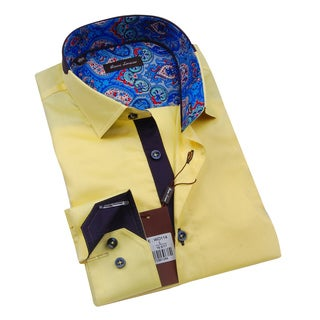 Gianni Lorenzo Mens Yellow Shirt WIth Blue Paisley Design