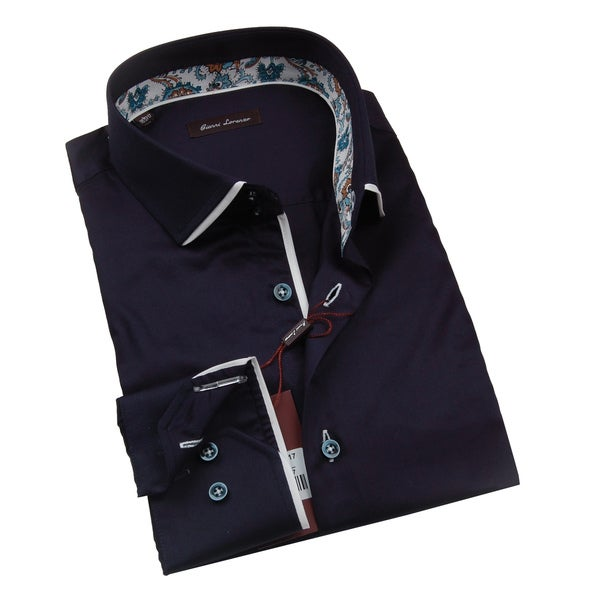 Gianni Lorenzo Mens Navy Shirt with Blue and Brown Paisley Design in Collar