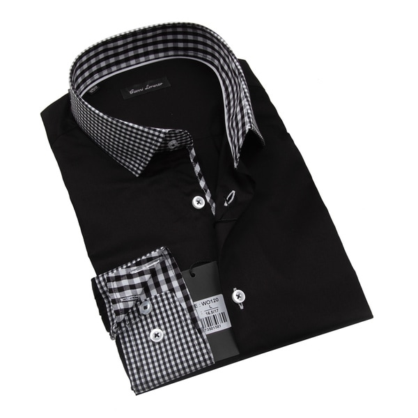 Gianni Lorenzo Mens Black Shirt With Black and White Mini Checkered Design In Collar