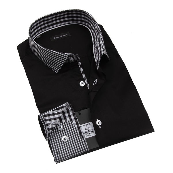 Gianni Lorenzo Mens Black Shirt With Black and White Mini Checkered Design In Collar