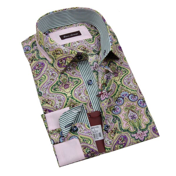 Gianni Lorenzo Mens Green and Purple Printed Dress Shirt