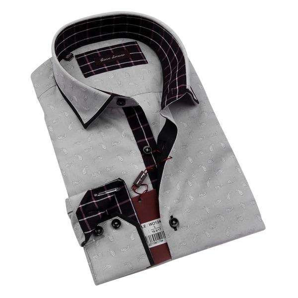 Gianni Lorenzo Mens Light Grey Paisley Shirt With Purple Checks in Collar