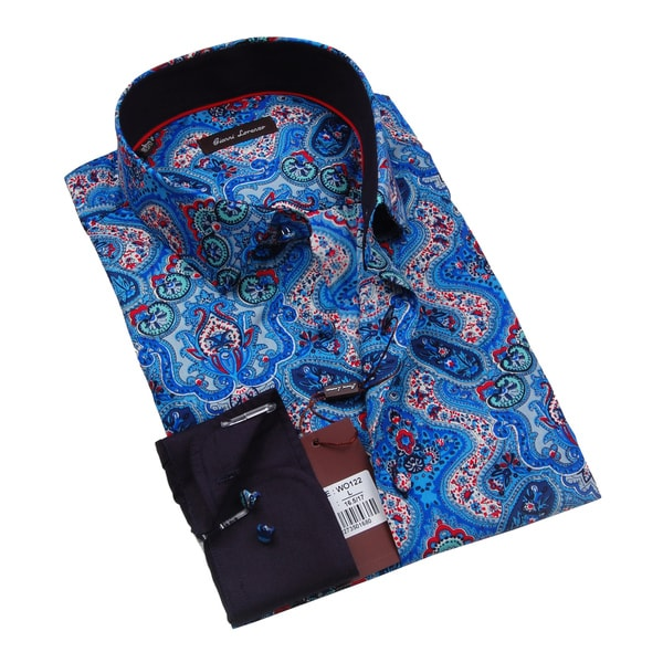 Gianni Lorenzo Mens Blue and Red Paisley Dress Shirt