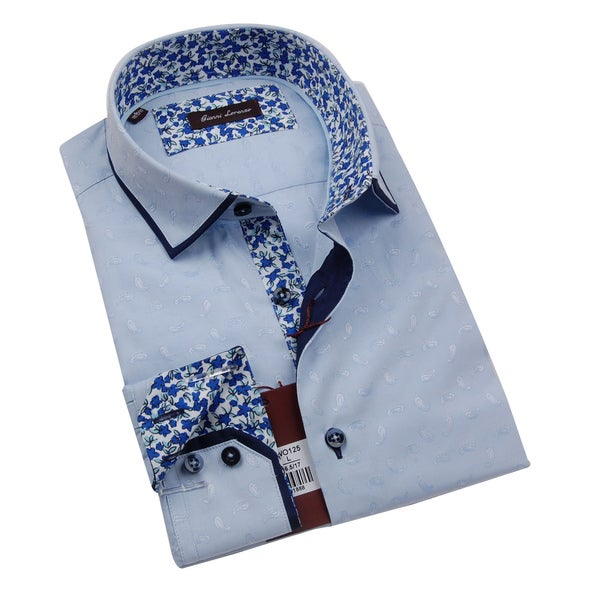 Gianni Lorenzo Mens Light Blue Paisley Printed Shirt With Floral Design in Collar