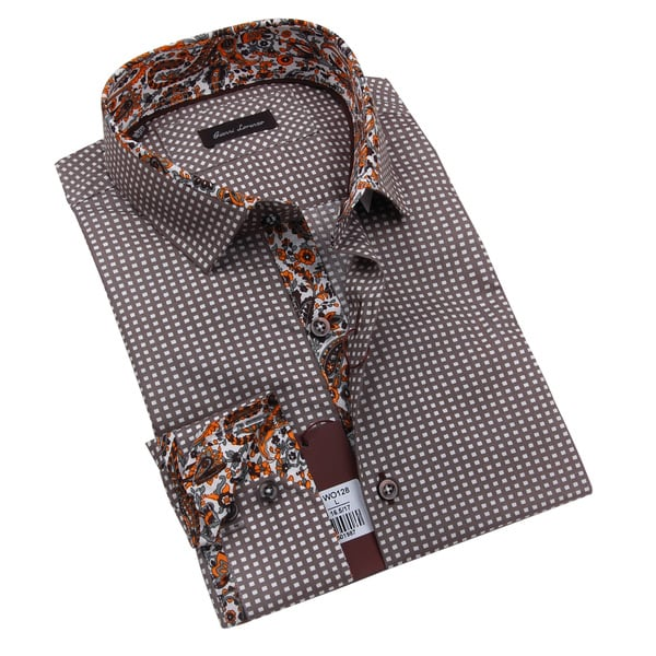 Gianni Lorenzo Mens Brown Shirt With Orange and Brown Floral Print in the Collar