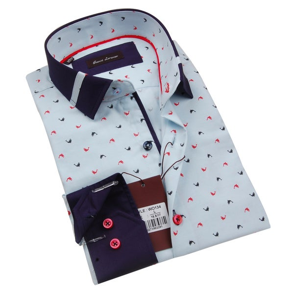 Gianni Lorenzo Mens Light Blue Dolphin Printed Shirt With a Navy Collar