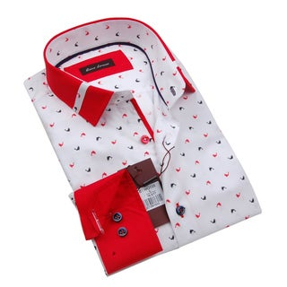 Gianni Lorenzo Mens White Dolphin Printed Shirt With a Red Collar