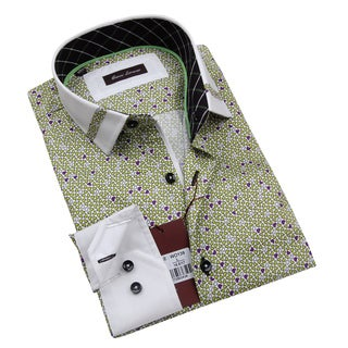 Gianni Lorenzo Mens Green and Purple Shirt With White Collar