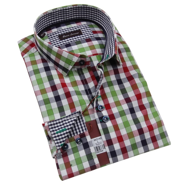 Gianni Lorenzo Mens Green Red Blue and White Checkered Shirt