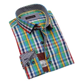 Gianni Lorenzo Mens Green Yellow Red Blue and White Checkered Shirt