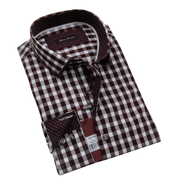 Gianni Lorenzo Mens Brown and White Checkered Dress Shirt