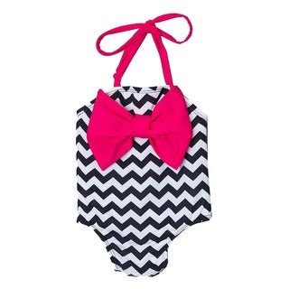 Dippin Daisy's Black Chevron Infant and Todddler's One Piece w/ Bow