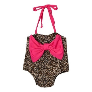 Dippin Daisy's Pink Leopard Infant and Todddler's One Piece w/ Bow