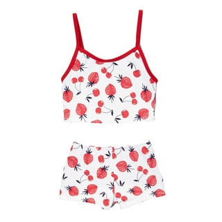 Dippin Daisy's Child's Cherry and Strawberry Boyshort Tankini