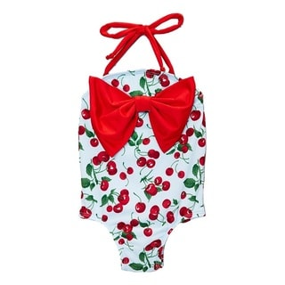 Dippin Daisy's Blue Cherry Infant and Todddler's One Piece w/ Bow
