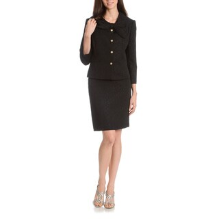 Tahari Arthur S. Levine Women's Textured Circular Printed Bow Collar 2-Piece Skirt Suit