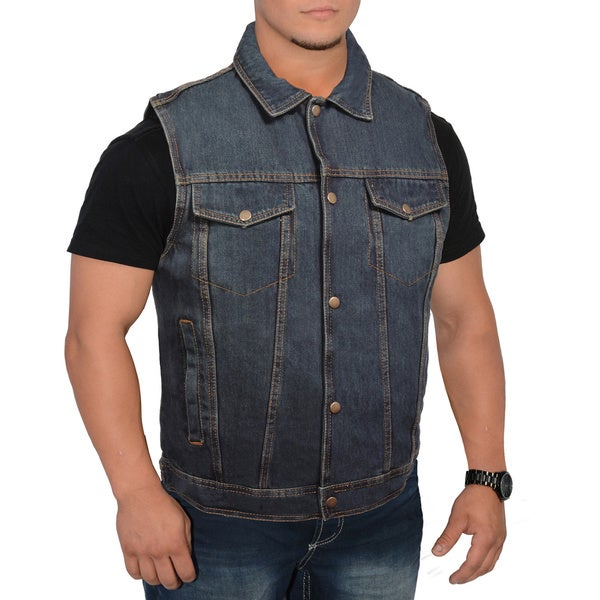 Men's Snap Front Denim Vest with Shirt Collar
