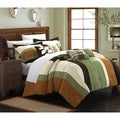 Chic Home Valley 11-Piece Green Plush Microsuede Striped Comforter Bed in a Bag