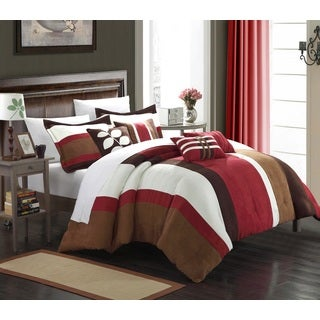Chic Home Valley 11-piece BurgundyPlush Microsuede Striped Comforter Bed-in-a-Bag