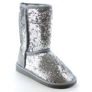Beston Women's Sequined Faux Fur Lining Slip On Mid-Calf Snow Boots