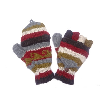 Woolen Fleece-lined Flip-top Hand-knitted Gloves (Nepal)