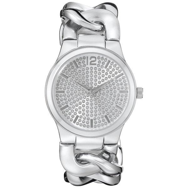 Vernier Paris Women's Pave' Crystal Dial Chain Link Watch 16624209