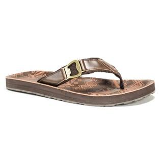 Muk Luks Men's Brown Silas Flip Flops