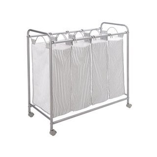 StorageManiac Heavy-duty Rolling Laundry Sorter with 4 Removable Canvas Laundry Bags