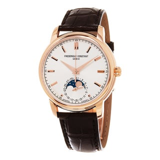 Frederique Constant Men's FC-715V4H4 'Classics' Silver Dial Brown Leather Strap Moonphase Swiss Automatic Watch